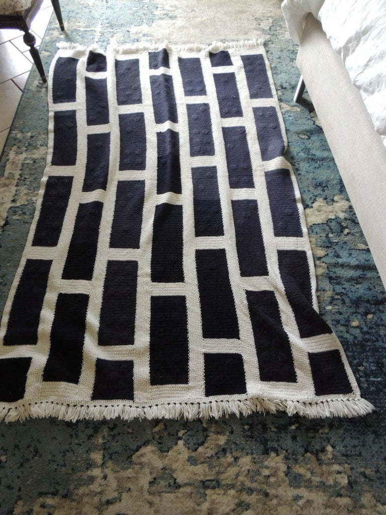 Icelandic Large Woven Black and White Afghan Throw For Sale