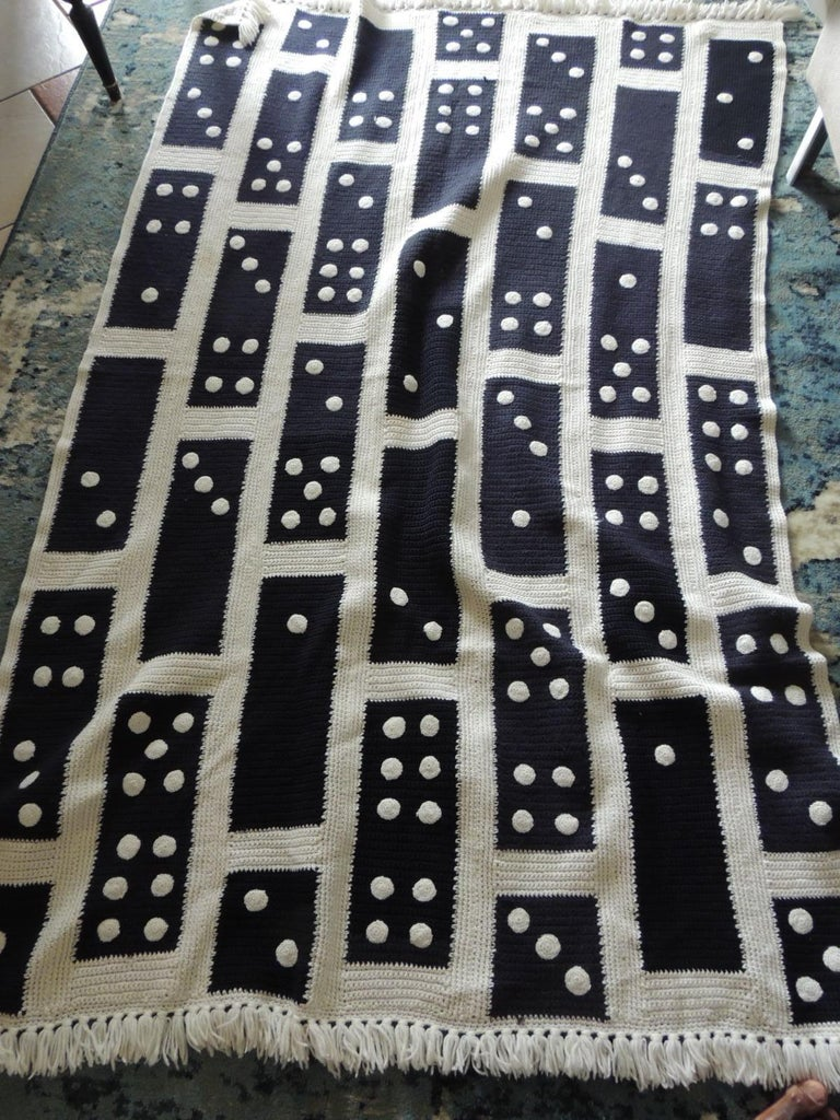 Large Woven Black and White Afghan Throw In Good Condition For Sale In Wilton Manors, FL