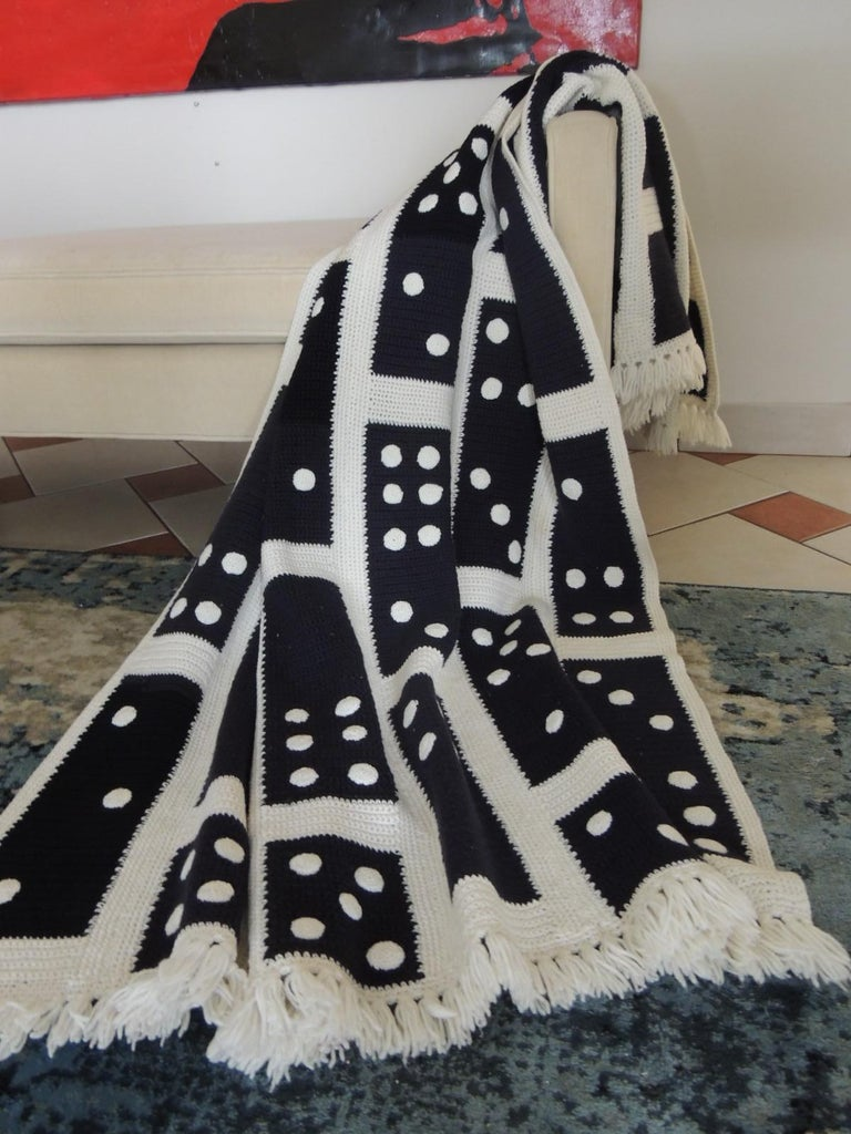 Late 20th Century Large Woven Black and White Afghan Throw For Sale