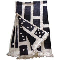 Large Woven Black and White Afghan Throw