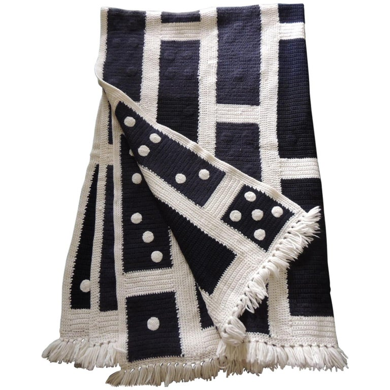 Large Woven Black and White Afghan Throw For Sale