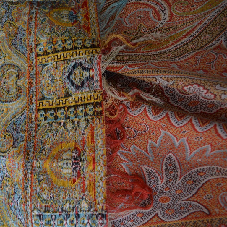 Indian Large Woven Cashmere Paisley Throw Textile Shawl For Sale