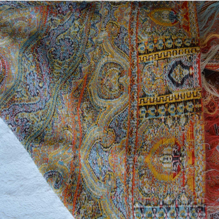 Hand-Woven Large Woven Cashmere Paisley Throw Textile Shawl For Sale