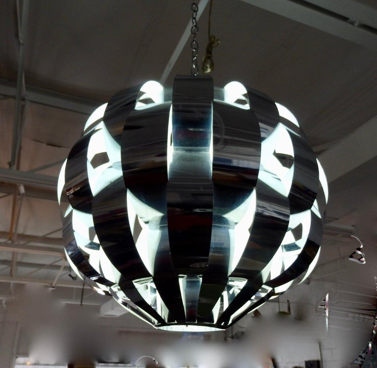 Polished Large Woven Chrome Hanging Pendant Entry Lamp For Sale