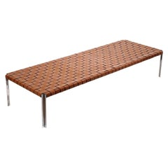 Large Woven Leather Bench by Laverne International