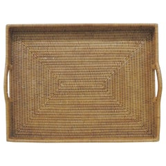 Large Woven Rattan Serving Tray with Handles