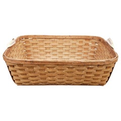 Large Woven Wood Slat Basket with Cloth Handles