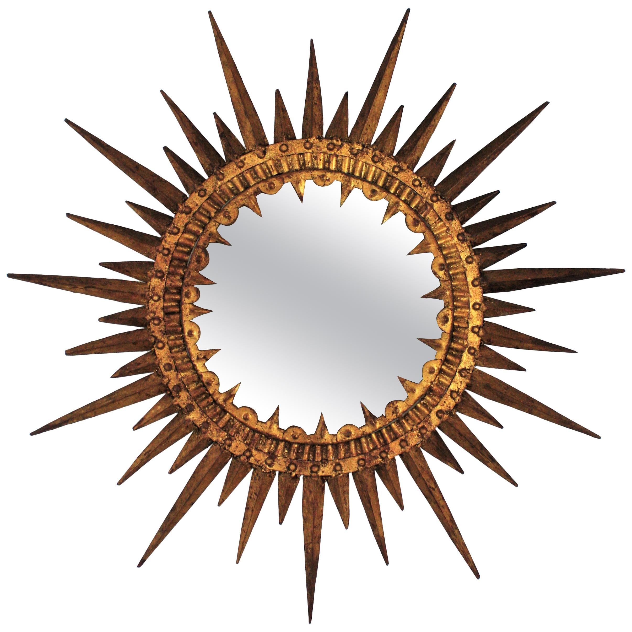 Sunburst Large Brutalist Mirror in Gilt Wrought Iron, Spain, 1950s