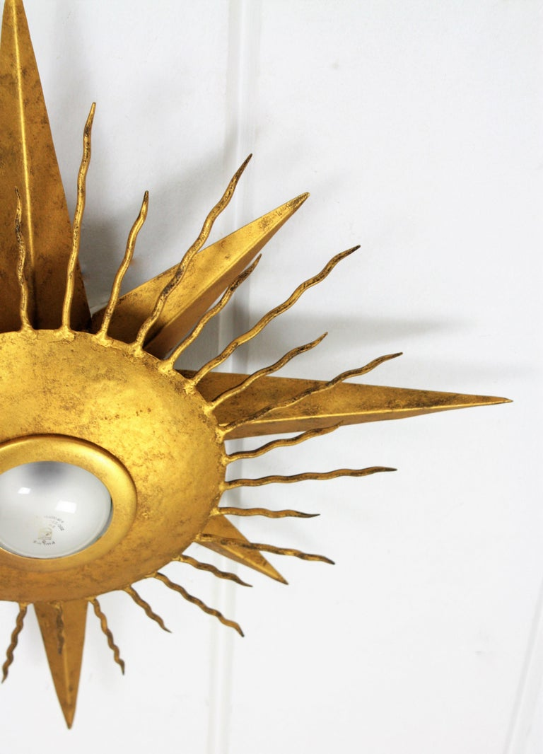 Large Wrought Gilt Iron Starburst Sunburst Ceiling Light Fixture, Spain, 1950s For Sale 3