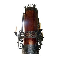 Large Wrought Iron and Mica Lantern