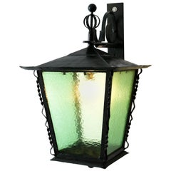 Large Wrought Iron Art Deco Amsterdam School Wall-Mounted Lantern, 1920s