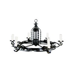 Large Wrought Iron Chandelier, circa 1920s