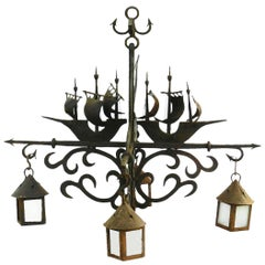 Large Wrought Iron Chandelier Marine Galleon Dolphin Attributed to Poillerat