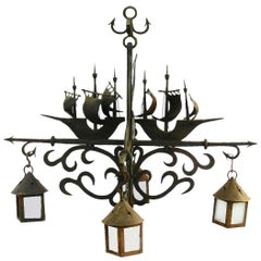 Large Wrought Iron Chandelier and Sconces manner of Poillerat Galleon Dolphin