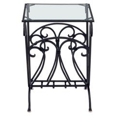 Large Wrought Iron Magazine Stand End Table with Glass Top