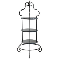 Large Wrought Iron Marble Pâtisserie Stand Ornate Floor Standing French Outdoor