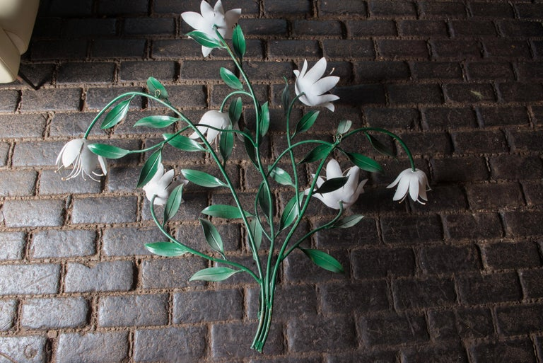 Large Wrought Iron Tulip Wall Decoration, Italy For Sale 5