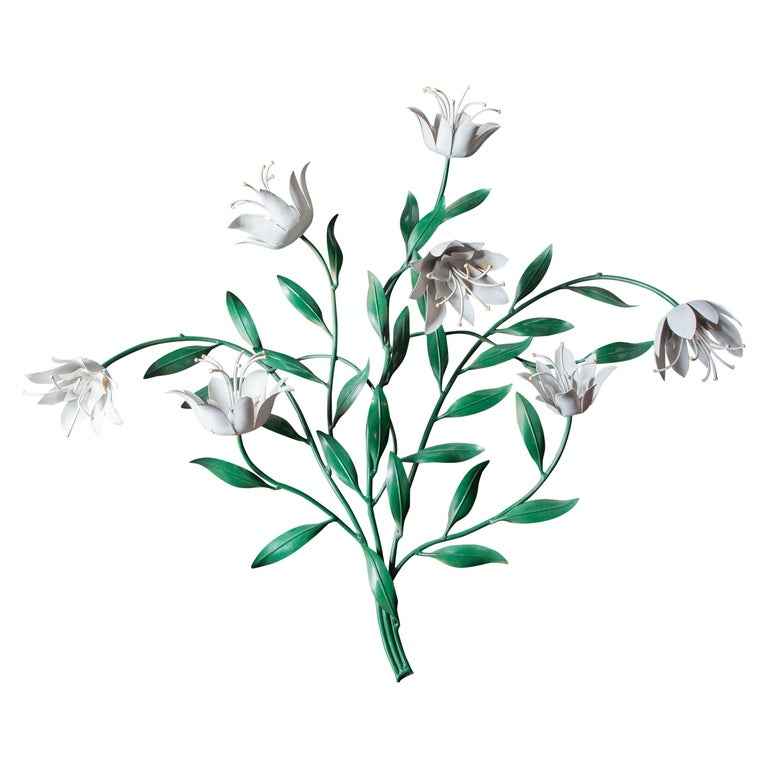 Large Wrought Iron Tulip Wall Decoration, Italy For Sale