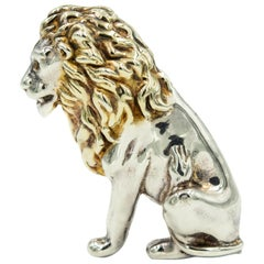 """Large Yaacov Heller Sterling Silver Lion with Gilt Mane Brooch 3"""" Tall"""