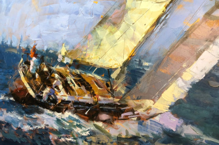 Painted Large Yachting Scene by Eugene Segal 'Russian School' For Sale