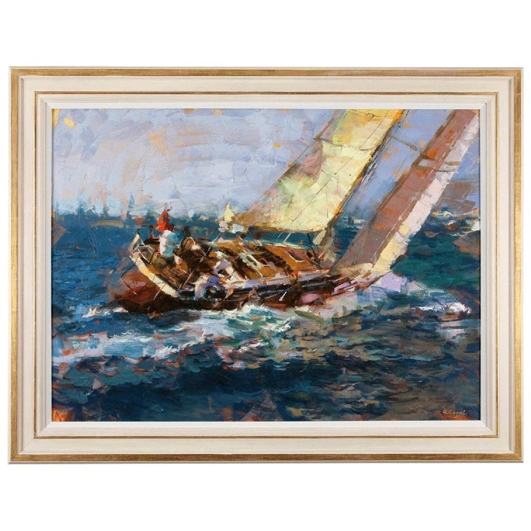 Large Yachting Scene by Eugene Segal 'Russian School' For Sale