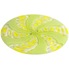 Large Yellow and Lime Green Murano Glass Dish