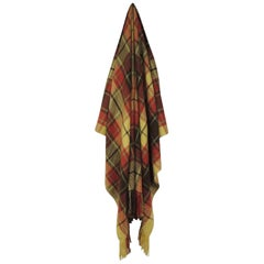 Large Yellow and Red Plaid Throw with Hand-Knotted Fringes