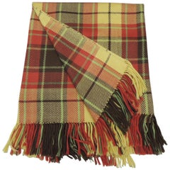 Large Yellow and Red Plaid Throw with Hand Knotted Fringes