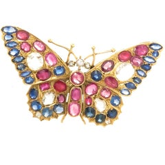 Large Yellow Gold and Gem Set Butterfly Brooch, 1920