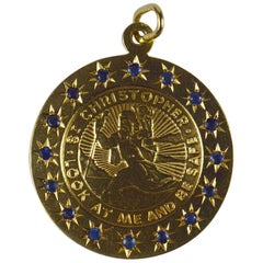 Large Yellow Gold Blue Sapphire St Christopher Charm Pendant