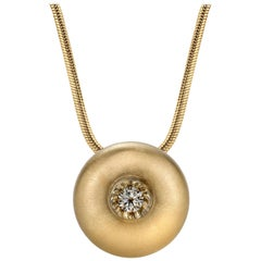 White Sapphire in Large Yellow Gold Dome Pendant