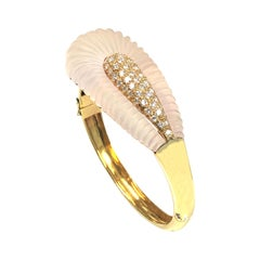 Large Yellow Gold Frosted Crystal and Diamond Bangle Bracelet