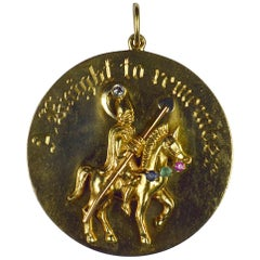 Large Yellow Gold Gem Set Knight to Remember Medallion Charm Pendant