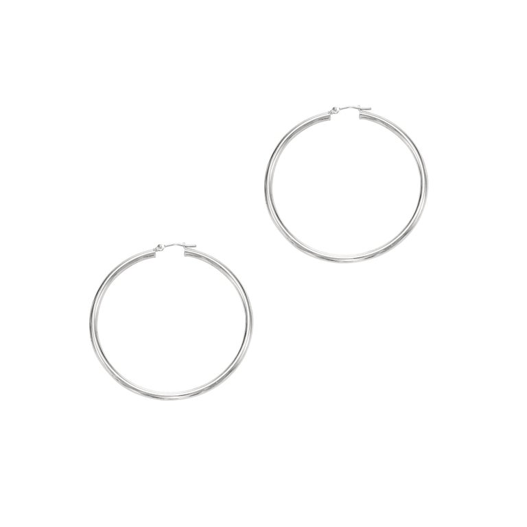Fourteen karats yellow gold large circle hoop earrings Earrings 2.25-inch diameter Width of the circle 3 millimeter equals 0.12 inch Also available in 14 karat white, prices may vary New Earrings The latest and innovative fashion collections have