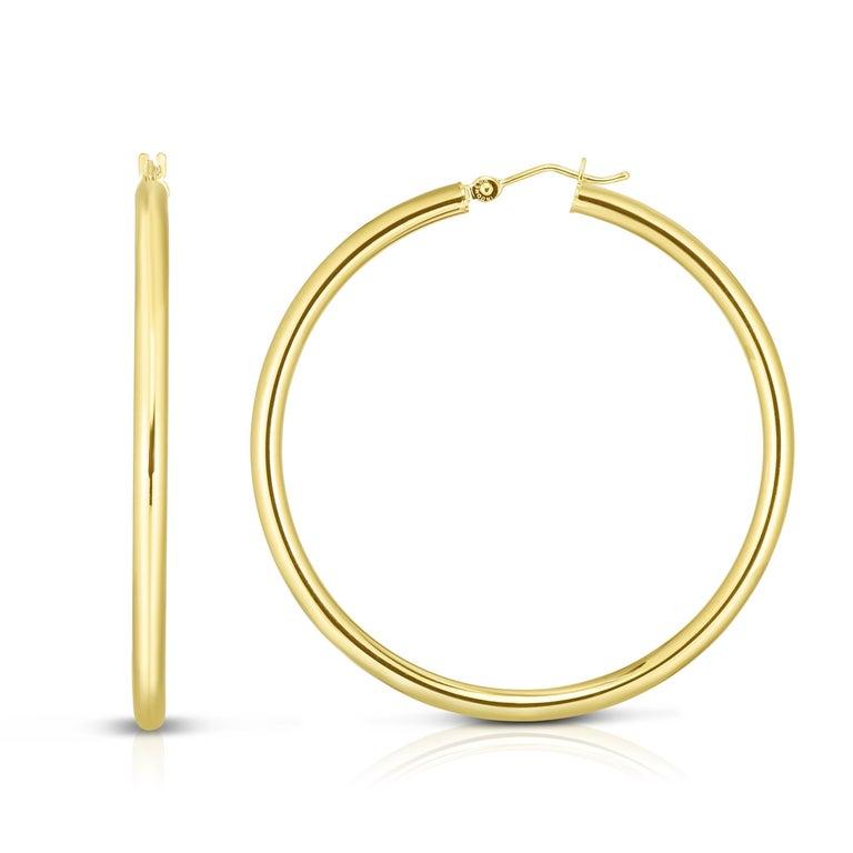 Modern Large Yellow Gold Hoop Earrings 2.25 Inch Diameter  For Sale
