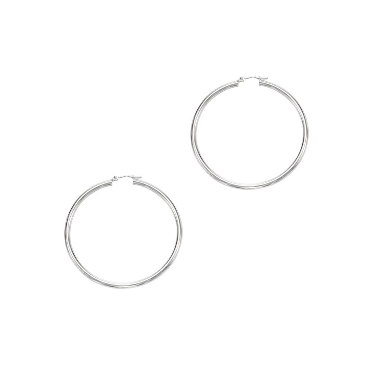 Round Cut Large Yellow Gold Hoop Earrings 2.25 Inch Diameter  For Sale