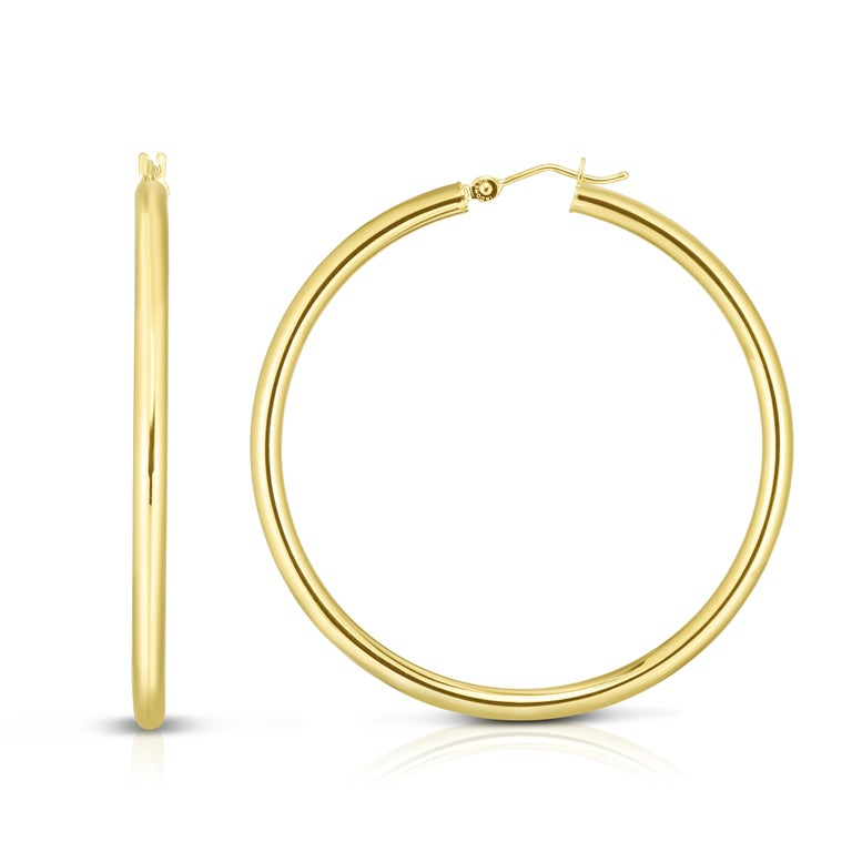 Large Yellow Gold Hoop Earrings 2.25 Inch Diameter  In New Condition For Sale In New York, NY