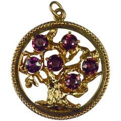 Large Yellow Gold Red Garnet Tree of Life Medallion Charm Pendant