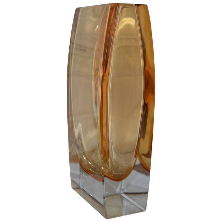 Italian Large Yellow Rectangular Murano Vase For Sale