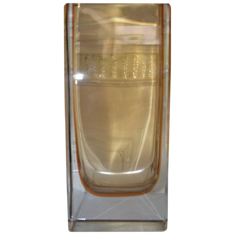 Large Yellow Rectangular Murano Vase In Good Condition For Sale In Haddonfield, NJ