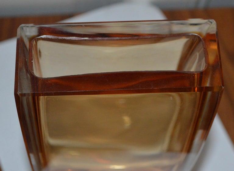 Large Yellow Rectangular Murano Vase For Sale 1