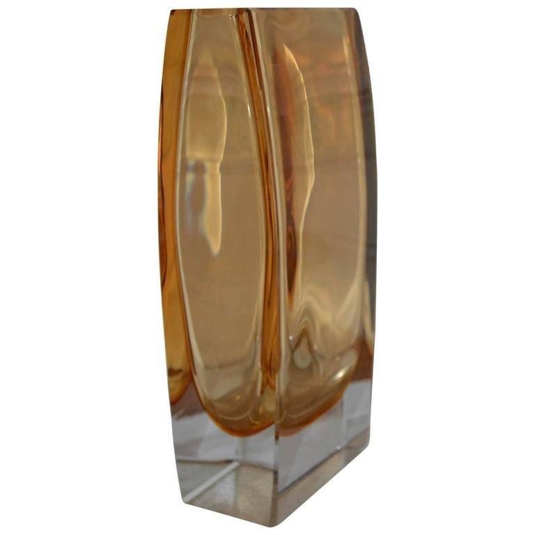 Large Yellow Rectangular Murano Vase For Sale