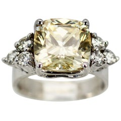Large Yellow Sapphire Ring with Diamond Side Accents