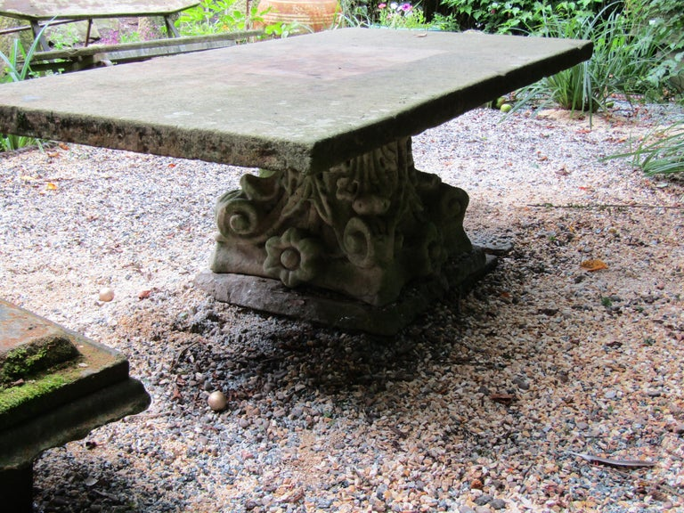 3a8fcdc2c521 Mid-19th Century Large York Stone Garden Table Feature, 1800s For Sale