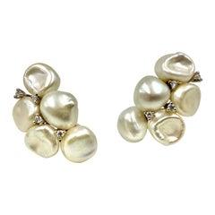 Large Yvel 18k White Gold Keshi Pearl Diamond Earrings