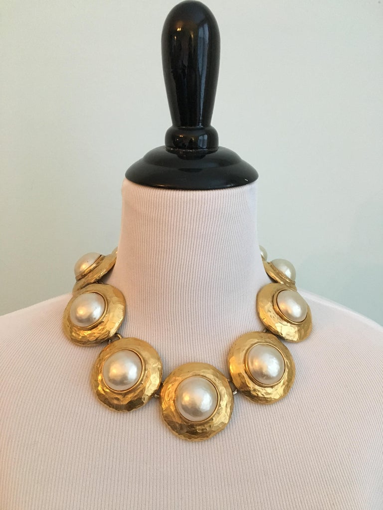 Huge 1980s Yves Saint Laurent Pearl and Gold Necklace In Good Condition For Sale In Chicago, IL