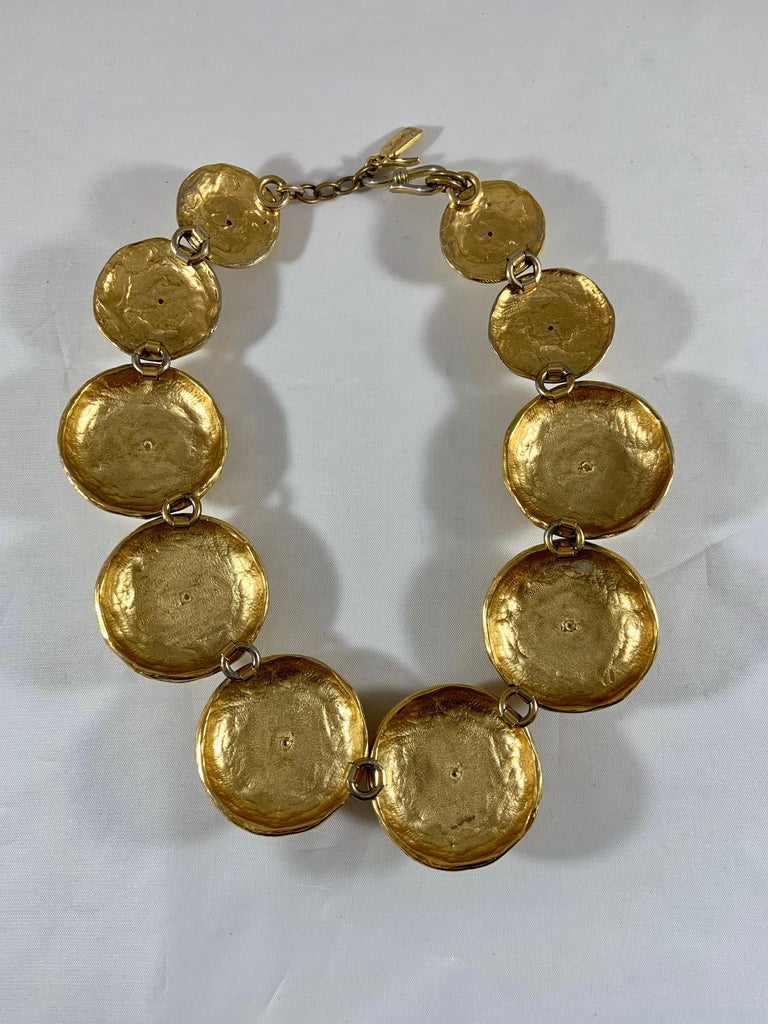 Huge 1980s Yves Saint Laurent Pearl and Gold Necklace For Sale 1