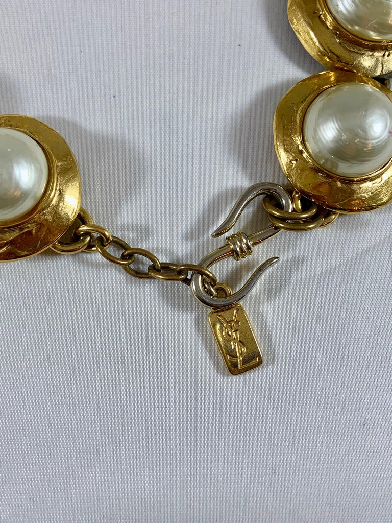 Huge 1980s Yves Saint Laurent Pearl and Gold Necklace For Sale 2