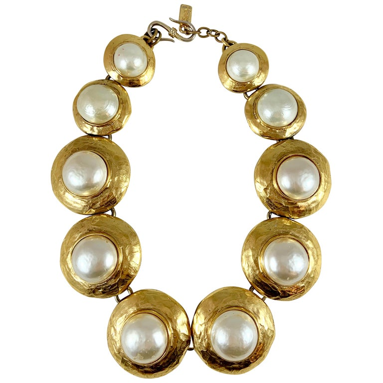 Huge 1980s Yves Saint Laurent Pearl and Gold Necklace For Sale
