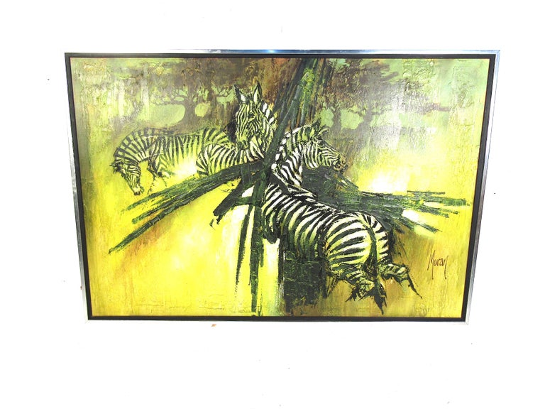 This large piece of wall art features bold colors and eye-catching lines. Painted on canvas this piece is sure to turn heads. Please confirm the item location with the dealer. (NJ/NY).